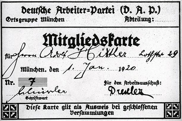 Hitler's German Workers' Party (DAP) membership card - foto preluat de pe en.wikipedia.org