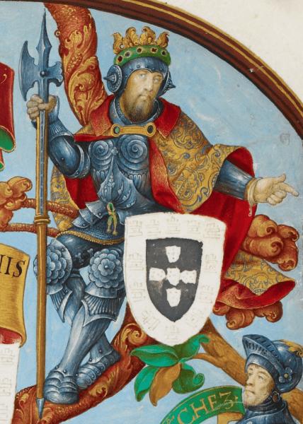 Afonso al IV-lea al Portugaliei (8 februarie 1291 – 28 mai 1357), supranumit Viteazul (portugheză o Bravo), a fost al șaptelea rege al Portugaliei, din 1325 până la moartea sa în 1357. A fost singurul fiu legitim al lui Denis al Portugaliei, cu soția acestuia Elisabeta de Aragon - Afonso in Genealogy of the Kings of Portugal (António de Holanda, 1530–1534) - foto preluat de pe en.wikipedia.org