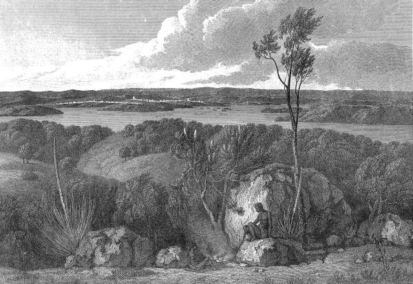 Un desen ce reprezintă Port Jackson (locul unde mai târziu va fi situat orașul Sydney) înaintea sosirii europenilor, văzută din South Head. (Din A Voyage around Terra Australis.) - foto preluat de pe ro.wikipedia.org