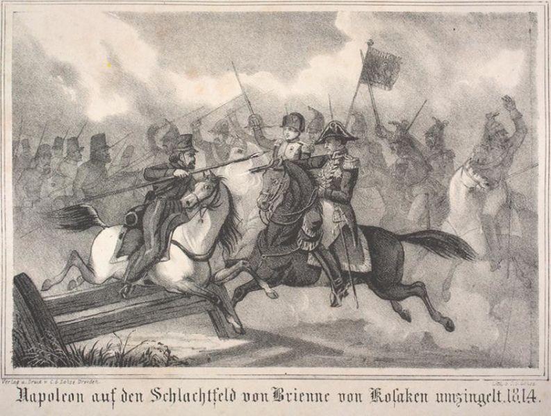 Bătălia de la Brienne-le-Château (29 ianuarie, 1814) - Parte din Războiul celei de-a Șasea Coaliții (Ilustrare a momentului în care Împăratul aproape a fost capturat de cazaci) - foto preluat de pe ro.wikipedia.org