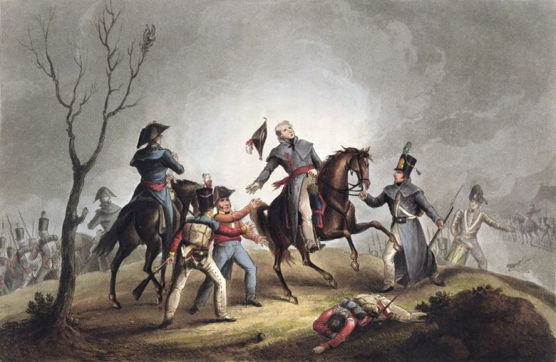 Battle of Corunna (16 January 1809) - Part of the Peninsular War (Death of Sir John Moore at the Battle of Corunna, derived from an engraving by Thomas Sutherland and aquatint by William Heath) - foto preluat de pe en.wikipedia.org