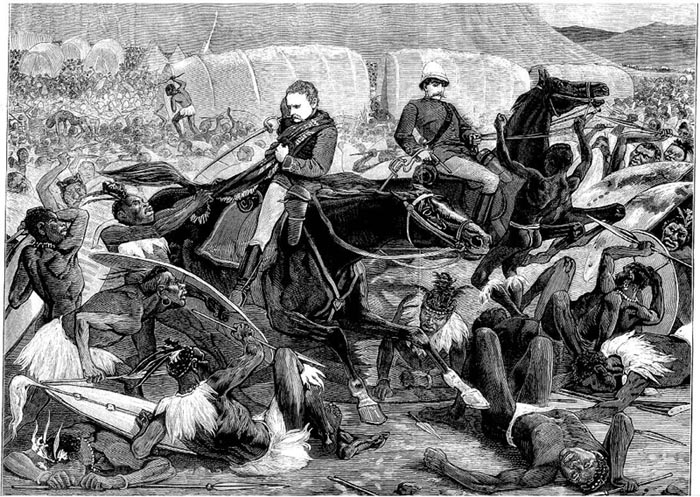 A depiction of Lt's Melvill and Coghill fleeing the Battle of Isandlwana with the Queen's Colour, taken from the Illustrated London News - foto preluat de pe en.wikipedia.org