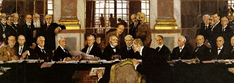 Conferința de Pace de la Paris din 1919 (18 ianuarie 1919 – 21 ianuarie 1920) - (Johannes Bell of Germany is portrayed signing the peace treaties on 28 June 1919 in The Signing of Peace in the Hall of Mirrors by Sir William Orpen) - foto preluat de pe en.wikipedia.org
