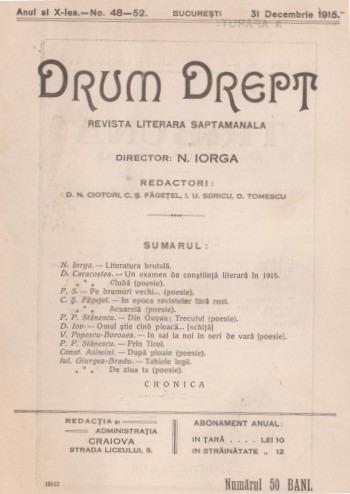 Coperta revistei Drum Drept, nr. 48-52, datată 31 decembrie 1915 - foto preluat de pe ro.wikipedia.org