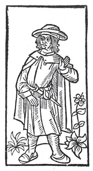 """François Villon, alias François de Montcorbier, Des Logos sau Des Loges a adoptat numele """"Villon"""", după cel al protectorului şi tutorelui său, Guillaume de Villon, profesor de drept canonic la Sorbona şi capelan la biserica Saint-Benoît-le-Bétourné[4]; n. 1431, Paris – dispărut în ianuarie 1463) a fost unul dintre marii poeţi ai Franţei Evului Mediu - Portret imaginar din prima ediţie a operelor sale (gravură pe coperta Marelui Testament, ed. Pierre Levet, 1489) - foto preluat de pe ro.wikipedia.org"""