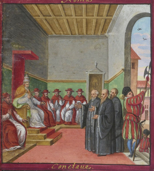 Conclave of Pius V, with Swiss Guard guarding the entrance (Codex Maggi, 1578) - foto preluat de pe en.wikipedia.org
