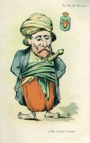 Grigorie Sturdza (n. 1821 - d. 1901) a fost un prinț român, fiu al domnitorului Mihail Sturdza (1834-1849) - caricatură de Nicolae S. Petrescu-Găină - foto preluat de pe ro.wikipedia.org