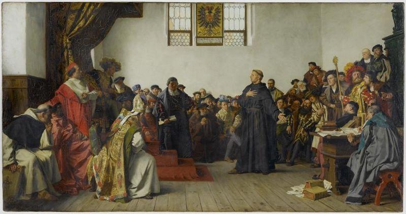 Dieta de la Worms din 1521 a fost o dietă a Sfântului Imperiu Roman, ce a avut loc în orașul Worms din Germania de astăzi, rămas în istorie pentru edictul de la Worms (Wormser Edikt), referitor la Martin Luther și la efectele Reformei Protestante. El s-a ținut între 28 ianuarie și 25 mai 1521, sub conducerea împăratului Carol al V-lea (Luther at the diet of Worms, by von Werner, 1877) - foto preluat de pe en.wikipedia.org