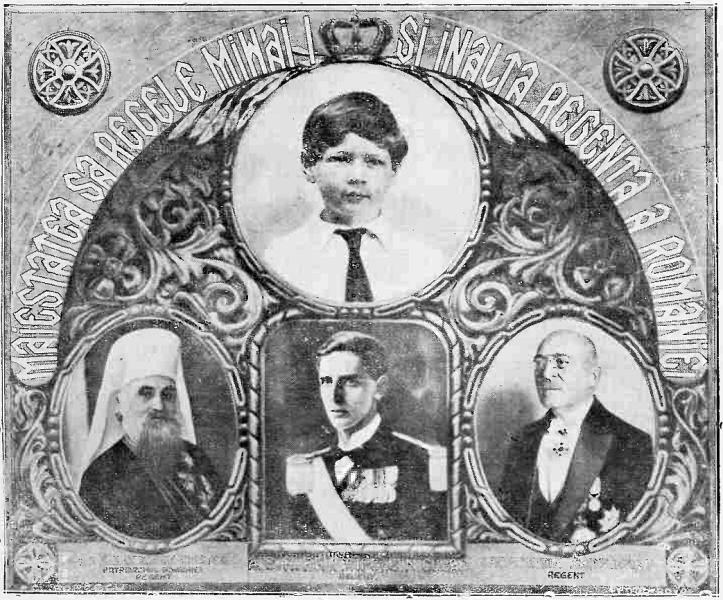 Membrii Regenţei - Patriarhul Miron Cristea, prinţul Nicolae şi Constantin Sărăţeanu - foto preluat de pe ro.wikipedia.org