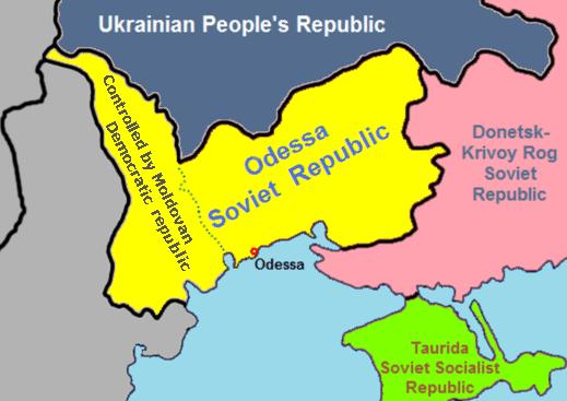 Republica Sovietică Odesa, la 1 martie 1918, harta include şi Basarabia, de facto însă, ultima niciodată nu a făcut parte din RSO - foto preluat de pe ro.wikipedia.org