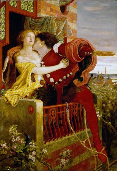 Romeo and Juliet (An 1870 oil painting by Ford Madox Brown depicting the play's famous balcony scene) - foto preluat de pe en.wikipedia.org