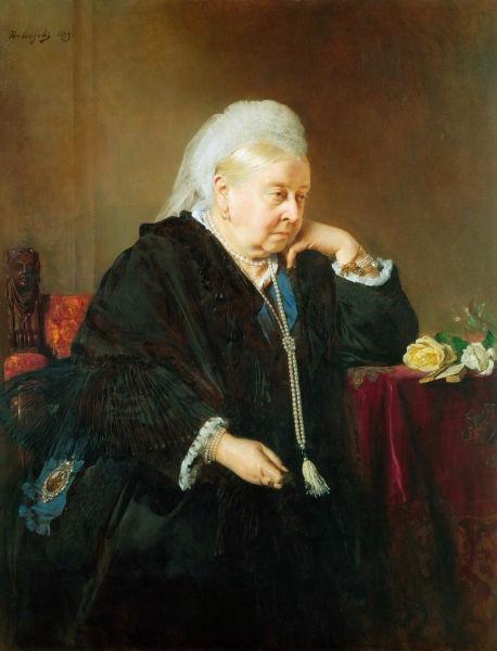 Alexandrina Victoria (n. 24 mai 1819, Londra - d. 22 ianuarie 1901, Isle of Wight) a fost regina Regatului Unit al Marii Britanii și Irlandei din 1837 până în 1901, împărăteasă a Indiilor, din 1877 până în 1901, și stăpână a celor 28 de colonii britanice (Portret al reginei Victoria, 1899) - foto preluat de pe ro.wikipedia.org