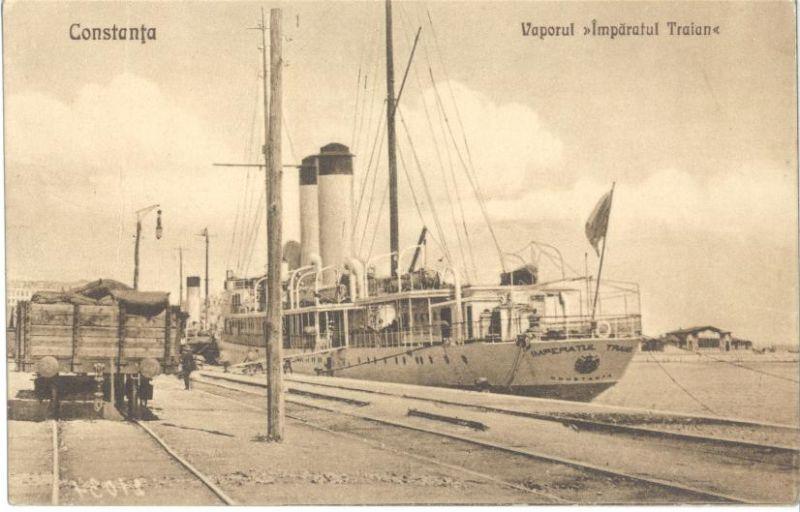 Pe nava Împăratul Traian – aflată în acele timpuri la Odesa - au fost ținuți în detenție o parte dintre demnitarii români în anul 1918 - foto preluat de pe ro.wikipedia.org