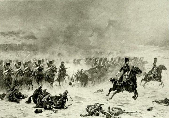 Bătălia de la Eylau (8 februarie, 1807) Parte din Războiul celei de-a Patra Coaliții - (Șarja Grenadierilor Călare din Garda Imperială franceză) foto preluat de pe ro.wikipedia.org