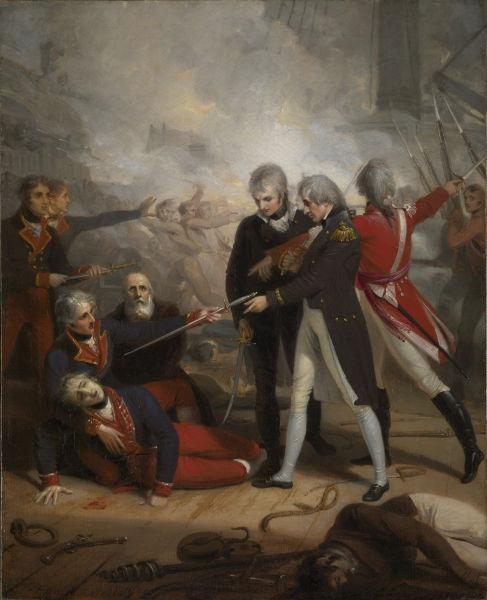 Bătălia de la Sf. Vincent (14 februarie 1797) - Nelson primeşte predarea lui San Nicolas, tablou de Richard Westall - foto preluat de pe ro.wikipedia.org