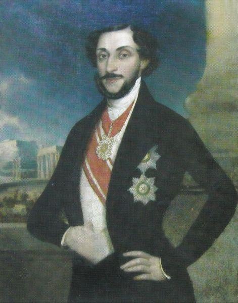 Barbu Dimitrie Știrbei (n. august 1799, Craiova - d. 12 aprilie 1869, Nisa) a fost domn al Țării Românești în perioadele iunie 1849 - 29 octombrie 1853 și 5 octombrie 1854 - 25 iunie 1856 (portret de Ion Negulici) -  foto preluat de pe ro.wikipedia.org