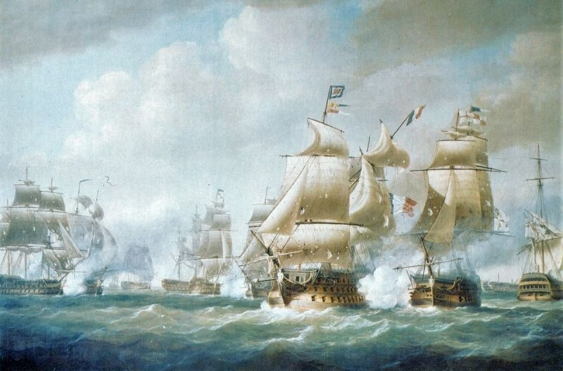 Battle of Santo Domingo Part of the Napoleonic Wars - Duckworth's Action off San Domingo, 6 February 1806. Impérial being harassed by the much weaker HMS Northumberland before being driven ashore. Nicholas Pocock, 1808, National Maritime Museum - foto preluat de pe en.wikipedia.org