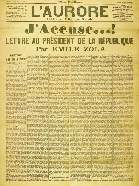 """Scrisoarea deschisă """"J'accuse"""" - foto preluat de pe ro.wikipedia.org"""