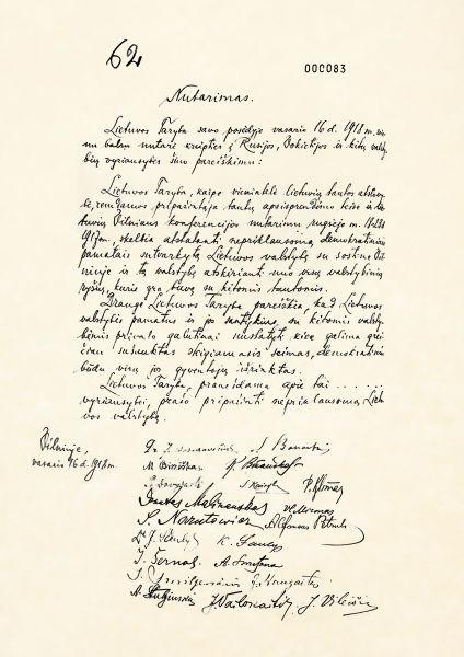 Declaraţia de Independenţă a Lituaniei (16 februarie 1918) - foto preluat de pe ro.wikipedia.org