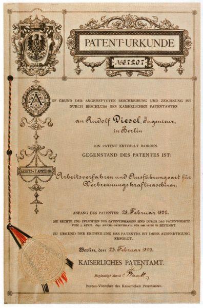Patentul lui Rudolf Diesel din 1893 pe proiectul motorului său - foto preluat de pe ro.wikipedia.org