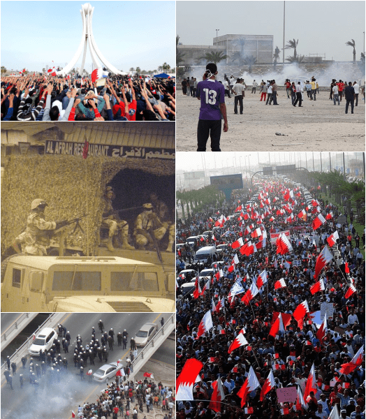 "Bahraini protests (2011-2014) Part of the Arab Spring and the Iran-Saudi Arabia proxy conflict - Clockwise from top-left: Protesters raising their hands towards the Pearl Roundabout on 19 February 2011; Teargas usage by security forces and clashes with protesters on 13 March; Over 100,000 Bahrainis taking part in the ""March of loyalty to martyrs"", on 22 February; clashes between security forces and protesters on 13 March; Bahraini armed forces blocking an entrance to a Bahraini village - foto preluat de pe en.wikipedia.org"