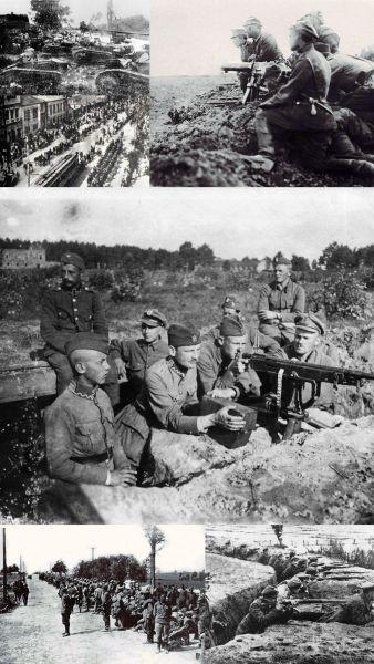 Războiul polono-sovietic (14 februarie 1919 - 18 octombrie 1920) Stânga sus: Tancuri poloneze Renault FT ale Regimentului I în timpul bătăliei de la Dyneburg, ianuarie 1920. Jos stânga: Trupele polono-ucrainene la Kiev, în timpul ofensivei de la Kiev , 7 mai 1920. Sus dreapta: Cuib polonez de mitralieră în timpul Bătăliei de la Radzymin, august 1920. La mijloc: Cuib polonez de mitralieră la în apropierea satului Janki, Bătăliei de la Varșovia, august 1920. Jos stânga: Prizonieri ruși în deplasare pe drumul dintre Radzymin și Varșovia, după Bătălia de la Varșovia. Jos dreapta: Poziții defensive poloneze în timpul, Bătăliei de pe râul Niemen (Belarus), septembrie 1920 -  foto preluat de pe ro.wikipedia.org
