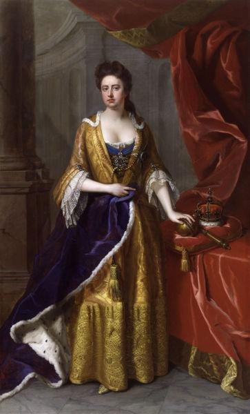 Anna a Marii Britanii (n. 6 februarie 1665 - d. 1 august 1714) a fost regină a Angliei, Scoţiei şi Irlandei, între 1702–1714; de la data de 8 martie 1702, i-a succedat lui William al III-lea al Angliei şi al II-lea al Scoţiei - (Portrait by Michael Dahl, 1705) - foto preluat de pe en.wikipedia.org