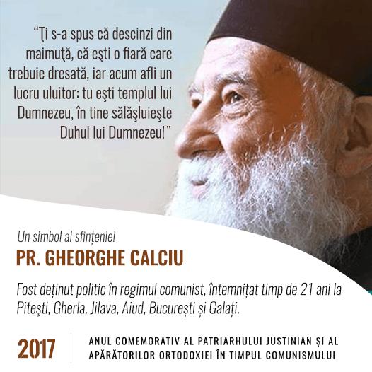 Gheorghe Calciu-Dumitreasa (n. 23 noiembrie 1925, Mahmudia, România – d. 21 noiembrie 2006, Washington, SUA) a fost un preot ortodox român, dizident anticomunist și luptător pentru drepturile omului. În timpul detenției din închisoarea pentru studenți de la Pitești (1949-1951) a colaborat cu Securitatea participând la așa-numita reeducare, la torturarea deținuților, în colaborare cu Eugen Țurcanu, activitate pentru care, ulterior, s-a căit și s-a pocăit - foto preluat de pe gheorghecalciu.ro