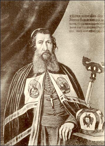 Ioan Bob (n. 1739, Orman, Cluj - d. 2 octombrie 1830, Blaj) a fost întâistătător al Bisericii Române Unite cu Roma între 1782-1830. Activitatea sa a fost afectată de conflictul cu Gheorghe Șincai, pe care l-a denunțat și demis din funcția de director școlar - foto preluat de pe ro.wikipedia.org