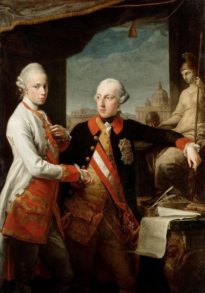 Leopold (stânga) cu fratele său împăratul Iosif al II-lea - foto preluat de pe ro.wikipedia.org