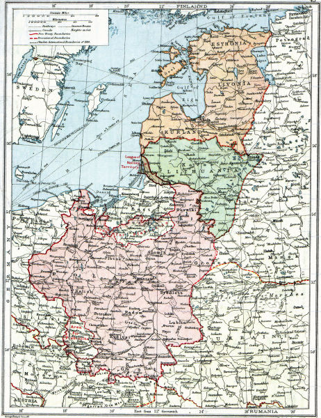 """Poland & The New Baltic States"": a map from a 1920 British atlas, showing borders left undefined between the treaties of Brest-Litovsk, Versailles and Riga - foto preluat de pe en.wikipedia.org"