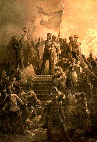 Artist Mihály Zichy's painting of Sándor Petőfi reciting the National Poem to a crowd on 15 March 1848 - foto preluat de pe en.wikipedia.org
