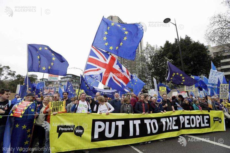 Manifestaţie uriaşă la Londra împotriva Brexitului (23 martie 2019) - foto preluat de pe www.agerpres.ro