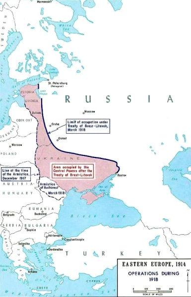 Tratatul de la Brest-Litovsk (3 martie 1918) - Territory lost under the Treaty of Brest-Litovsk - foto preluat de pe en.wikipedia.org