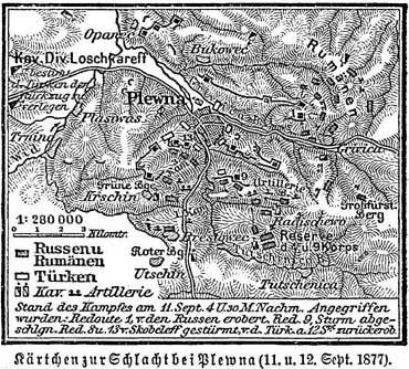 Războiul de Independență al României (1877 – 1878) - Harta asediului Plevnei - foto preluat de pe ro.wikipedia.org