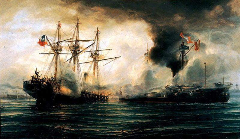 Battle of Iquique (21 May 1879) - Part of War of the Pacific (5 April 1879 – 20 October 1883) - Naval Combat of Iquique - The sinking of the Esmeralda - foto preluat de pe en.wikipedia.org