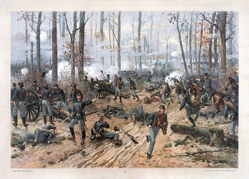 Bătălia de la Shiloh (6–7 aprilie 1862) Parte din Războiului civil american - (pioctura de Thure de Thulstrup) - foto preluat de pe ro.wikipedia.org