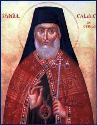 Sfântul Ierarh Calinic (n. 7 octombrie 1787 - d. 11 aprilie 1868), cunoscut și sub numele de Sfântul Calinic de la Cernica, a fost un călugăr, ctitor de biserici, teolog, stareț (apoi arhimandrit) al Mănăstirii Cernica timp de 32 de ani, formând o aleasă și renumită obște monahală. Mai târziu a fost ales Episcop de Râmnicu-Vâlcea. A fost unul dintre cei mai mari părinți duhovnicești români ai veacului al XIX-lea. Pentru faptele sale sfinte Biserica Ortodoxă Română l-a proslăvit ca sfânt (canonizat) la 28 februarie 1950. Prăznuirea lui se face pe data de 11 aprilie - foto preluat de pe ro.orthodoxwiki.org