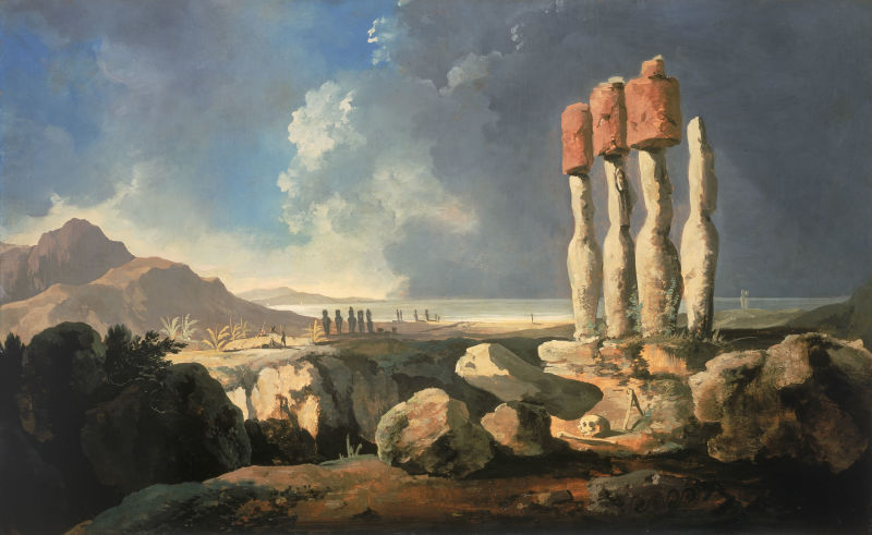 A View of the Monuments of Easter Island, Rapanui, c. 1775–1776 by William Hodges - foto preluat de pe en.wikipedia.org