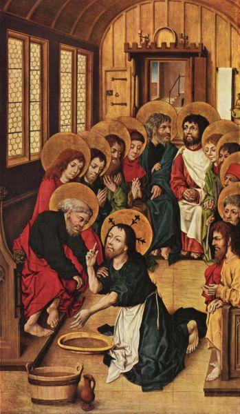 Cristos spălând picioarele apostolilor de Meister des Hausbuches, 1475 (Gemäldegalerie, Berlin) - foto preluat de pe ro.wikipedia.org