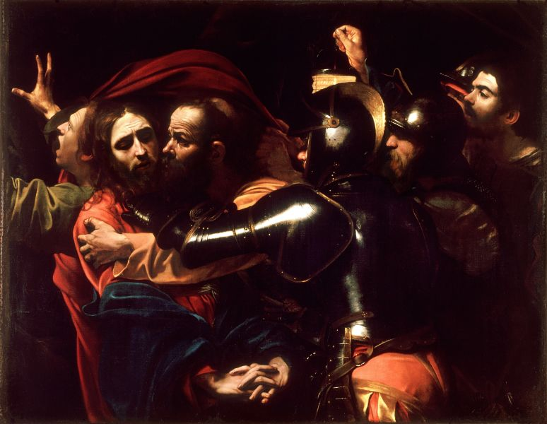 A depiction of the kiss of Judas and arrest of Jesus, by Caravaggio, c. 1602 - foto preluat de pe ro.wikipedia.org