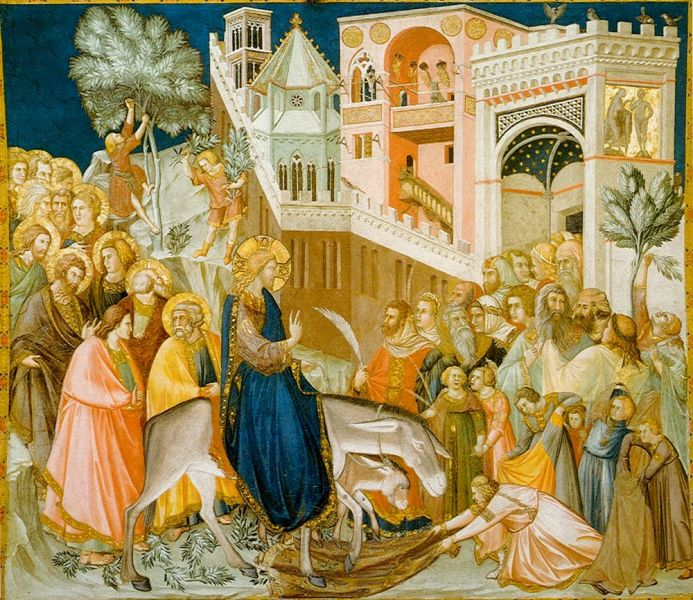 Jesus enters Jerusalem and the crowds welcome him, by Pietro Lorenzetti, 1320 - foto preluat de pe en.wikipedia.org