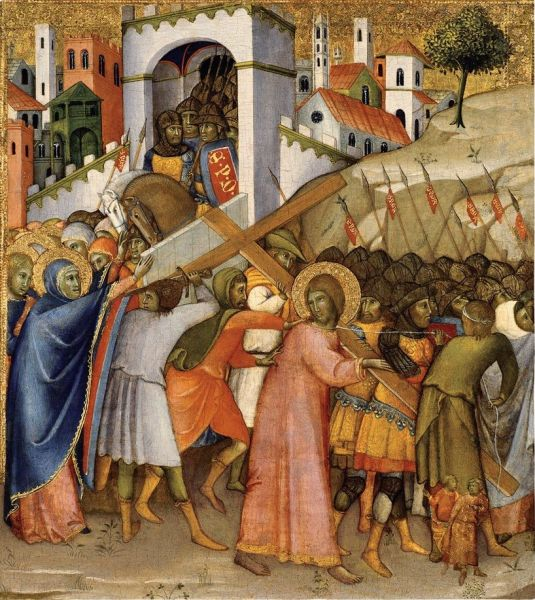 Andrea di Bartolo, Way to Calvary, c. 1400. The cluster of halos at the left are the Virgin Mary in front, with the Three Marys -  foto preluat de pe en.wikipedia.org