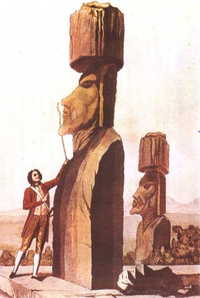 Jacob Roggeveen analyzing a Moai statue, 18th-century engraving - foto preluat de pe en.wikipedia.org