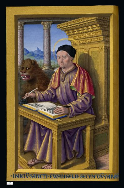 Miniature of Saint Mark from the Grandes Heures of Anne of Brittany (1503–1508) by Jean Bourdichon - foto preluat de pe ro.wikipedia.org