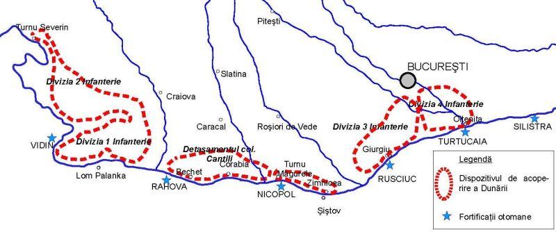 Războiul de Independență al României (1877 – 1878) - Dispozitivul de acoperire a Dunării - foto preluat de pe ro.wikipedia.org