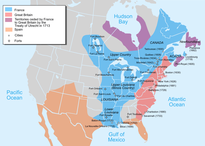 Harta așezărilor britanice și franceze din America de Nord în 1750, înainte de războiul francez și indian (1754-1763), parte din Războiul de Șapte Ani (17 mai 1756 – 15 februarie 1763) - foto preluat de pe en.wikipedia.org