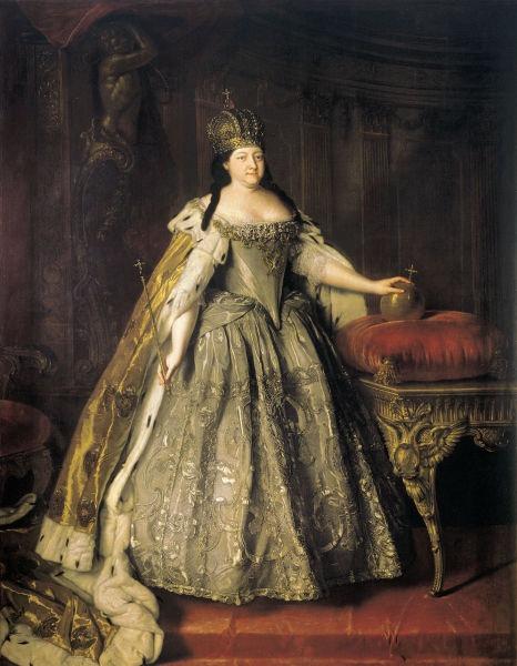 Ana Ivanovna (7 februarie [S.V. 28 ianuarie] 1693 – 28 octombrie [S.V. 17 octombrie] 1740) a domnit ca Ducesă de Courland din 1711 până în 1730 şi ca Împărăteasă a Rusiei din 1730 până în 1740. Ana a fost fiica lui Ivan al V-lea al Rusiei şi nepoată de frate a ţarului Petru cel Mare. S-a căsătorit cu Frederick Wilhelm, Duce de Courland în noiembrie 1710 însă în ianuarie 1711, în urma unui atac cerebral, soţul ei a murit [Louis Caravaque, Portrait of Empress Anna Ioannovna (1730)] - foto preluat de pe ro.wikipedia.org