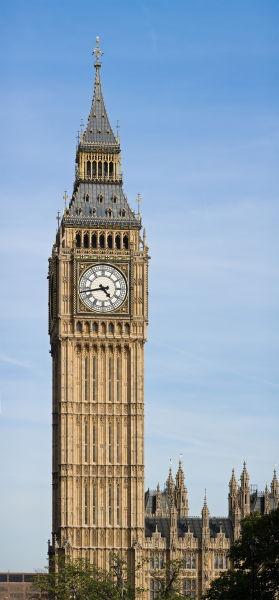 Big Ben (în traducere, Marele Ben) este porecla marelui clopot al ceasului din turnul de nord al Palatului Westminster din Londra. Acest nume a fost utilizat atât în cazul clopotului, cât şi al ceasului şi chiar al turnului cu ceas - foto preluat de pe ro.wikipedia.org