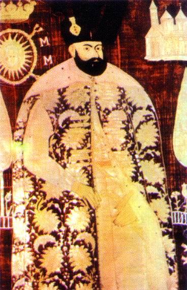 Ieremia Movilă (n. 1555 – d. 10 iulie 1606, Iași, Moldova) a fost domn al Moldovei de două ori, între august 1595 și mai 1600, respectiv între septembrie 1600 și 30 iunie 1606 - (Ieremia Movilă pe vălul său funerar) - foto preluat de pe ro.wikipedia.org